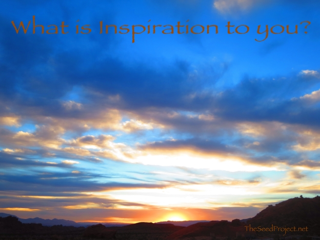 "the sunrise at Valley of Fire on a recent family trip with the words, ""What is inspiration to you?"" across the top"