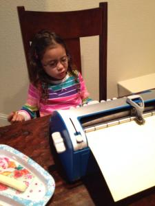 Marley on the Braille writer