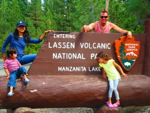 us on the Mt. Lassen sign