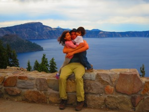 daddy and kiddos at the top of Crater Lake