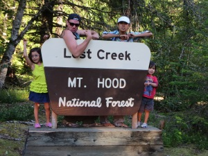 here we're making goofy frightened faces on the Mr Hood sign