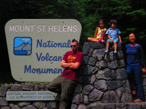 here we're on the Mt. Saint Hellens sign just before crawling through lava tubes