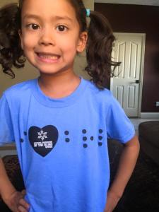 "Marley in her, ""I Heart Braille,"" T-Shirt"