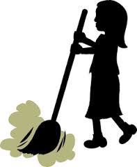 image of girl sweeping