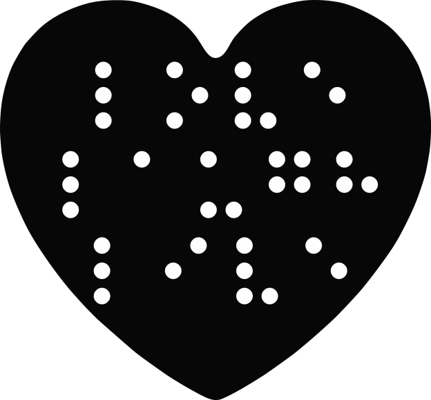 Image of a heart with the words, %22Love, Laugh, Live,%22 in Braille